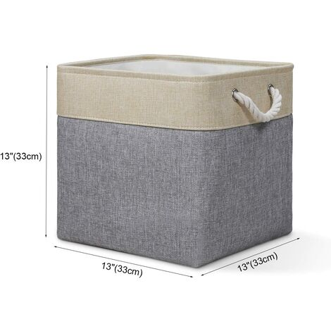 Storage Cube Basket [1-Pack] Foldable Canvas Fabric Storage Box with Handles for Organizing, Shelves, Toys, Clothing, Desk (33 x 33 x 33 cm) (Beige / Gray)