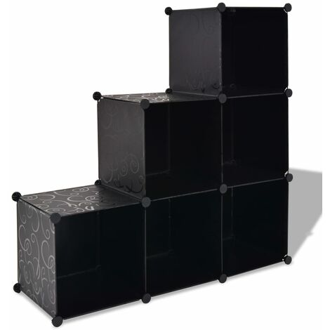 Storage Cube Organiser with 6 Compartments Black - Black