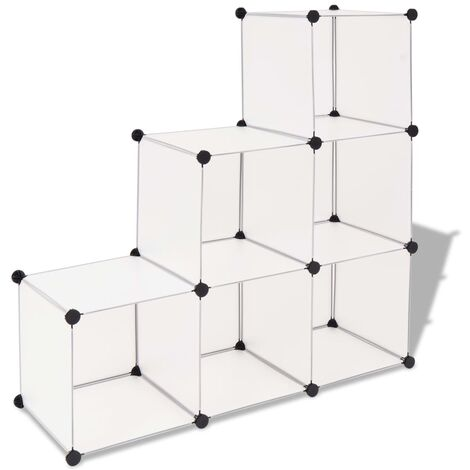 Storage Cube Organiser with 6 Compartments White - White