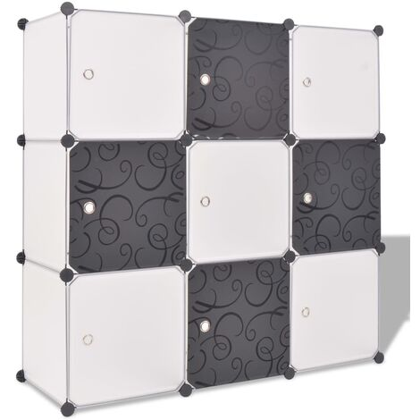 Storage Cube Organiser with 9 Compartments Black and White