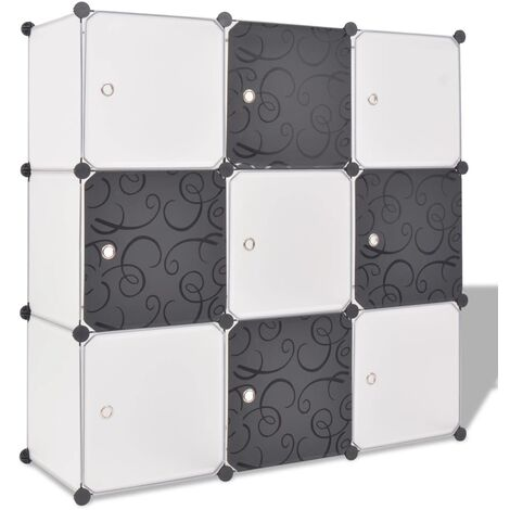 Storage Cube Organiser with 9 Compartments Black and White - Multicolour