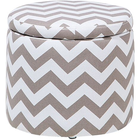 Storage Footstool Grey and White TUNICA