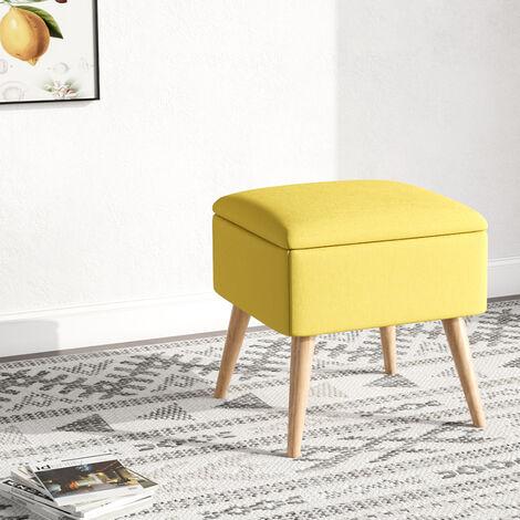 Storage Footstool Linen Pouffe Chair Stool Wooden Leg Yellow