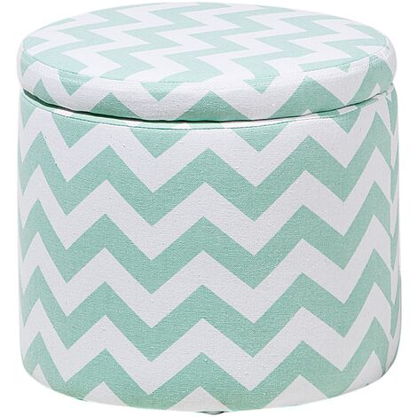 Storage Footstool Mint Green and White TUNICA
