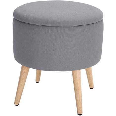 Storage Footstool Ottoman Pouffe Stool Wooden Legs Grey