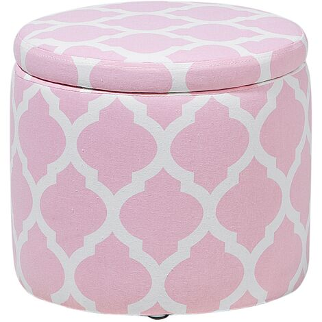 Storage Footstool Pink and White TUNICA