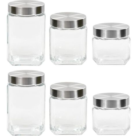 Storage Jars with Sliver Lid 6 pcs 800/1200/1700 ml