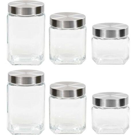 Storage Jars with Sliver Lid 6 pcs 800/1200/1700 ml
