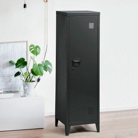 "main image of ""Storage Locker, Lockable Storage,3-in-1 Metal Locker,3 Shelves Cabinet, Home & Office Filling Organizer, Kids Toy Storage Bin, Gym Room Locker Keeper with Lock and Key Black - Black"""
