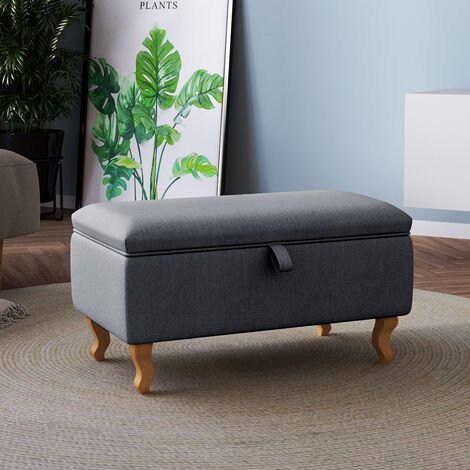 Storage Ottoman Chair Stool Dark Grey Footstool Linen Bench Pouffe Chair