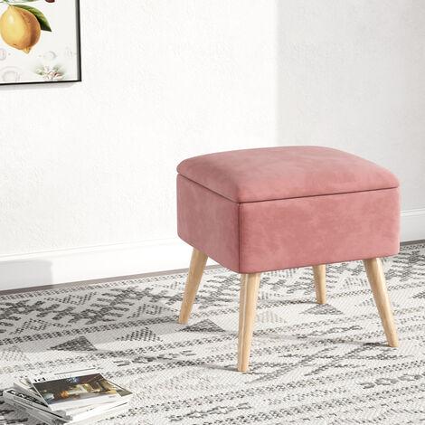 Storage Ottoman Chair Stool Grey Footstool Velvet Pouffe Chair Pink