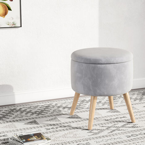 Storage Ottoman Chair Stool Grey Footstool Velvet Round Pouffe Chair