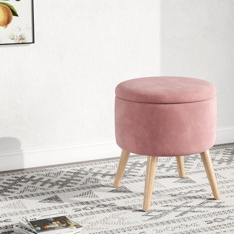 Storage Ottoman Chair Stool Pink Footstool Velvet Round Pouffe Chair