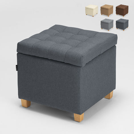 Storage pouf footstool with cushions covered in quilted fabric COFFREE