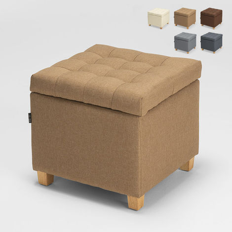 Storage pouf with cushions covered in quilted COFFREE fabric