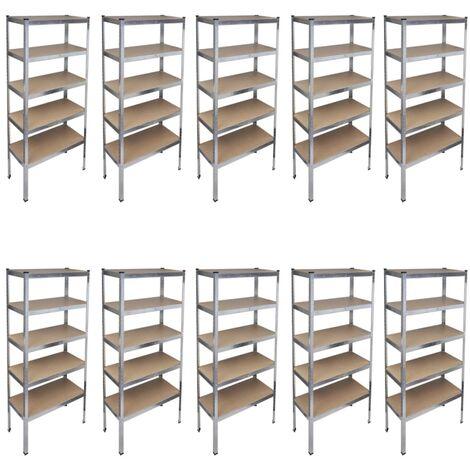 Storage Rack Garage Storage Shelf 10pcs - Brown