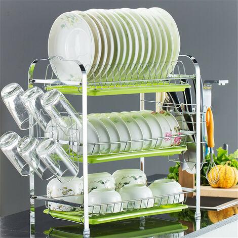 Storage Rack Pantry Organizer Stainless Steel Sink Drain Rack Kitchen Shelf 3 Layer green