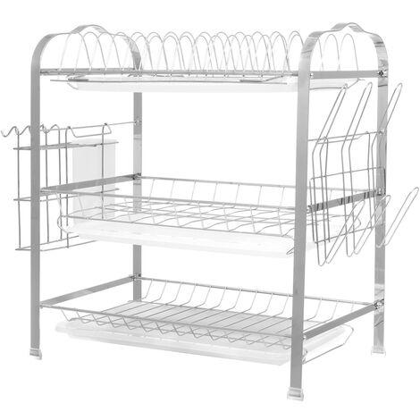 Storage Rack Pantry Organizer Stainless Steel Sink Drain Rack Kitchen Shelf 3 Layer white