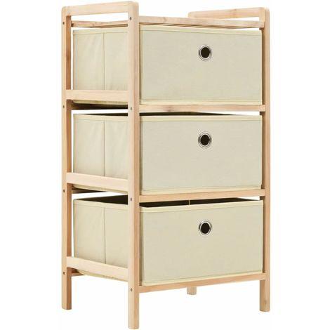 Storage Rack with 3 Nonwoven Baskets Cedar Wood Beige