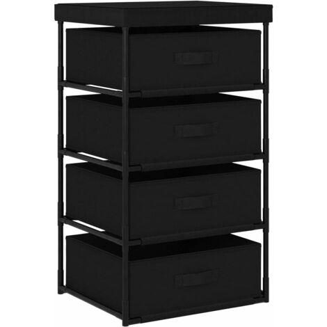 Storage Rack with 4 Fabric Baskets Steel Black - Black
