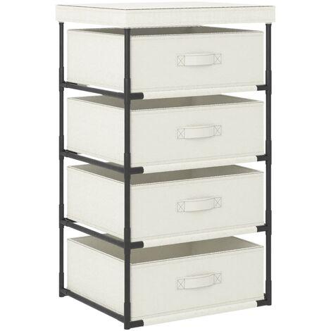 Storage Rack with 4 Fabric Baskets Steel Cream