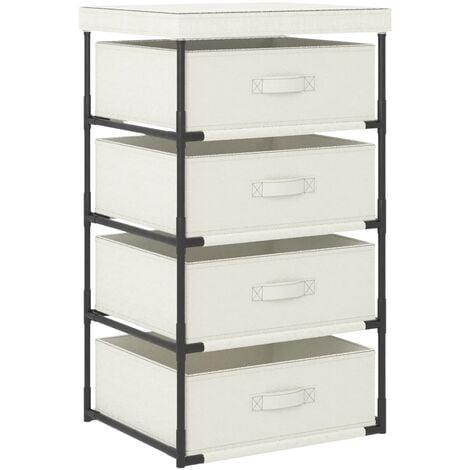 Storage Rack with 4 Fabric Baskets Steel Cream - Cream