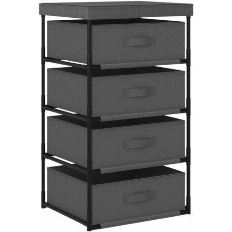 Storage Rack with 4 Fabric Baskets Steel Grey