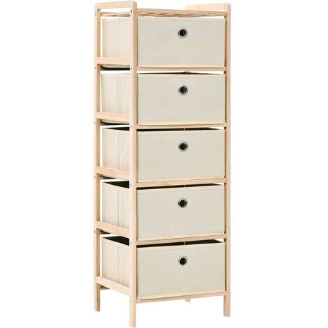 Storage Rack with 5 Fabric Baskets Cedar Wood Beige - Beige