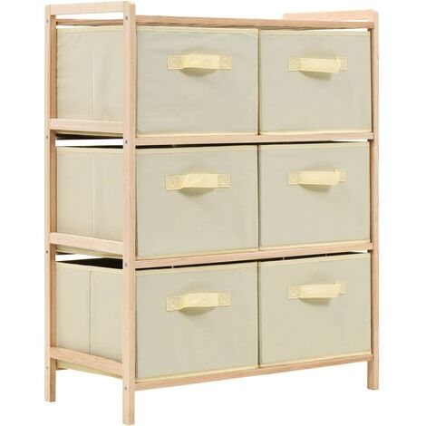 Storage Rack with 6 Fabric Baskets Cedar Wood Beige