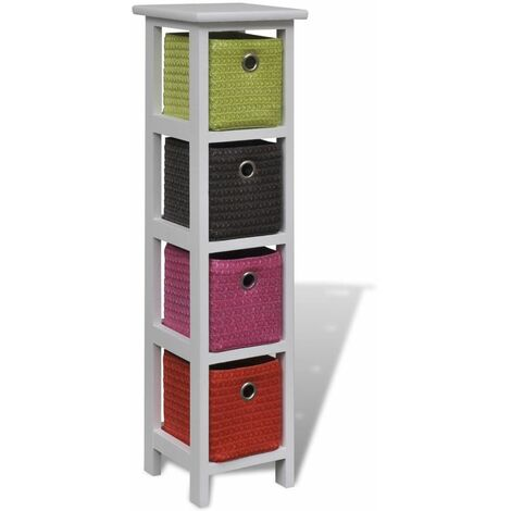 Storage Rack with Multi-colour Baskets Paulownia Wood