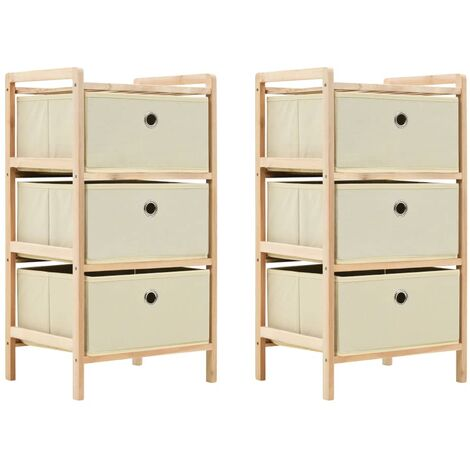 Storage Racks with 3 Fabric Baskets 2 pcs Beige Cedar Wood