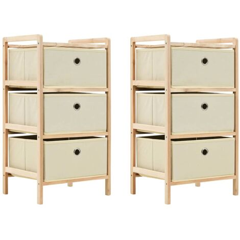 Storage Racks with 3 Fabric Baskets 2 pcs Beige Cedar Wood - Beige