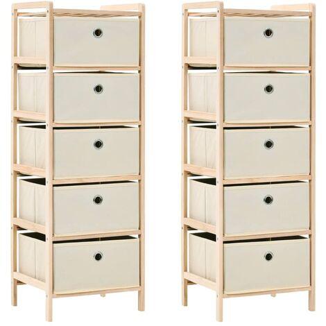 Storage Racks with 5 Fabric Baskets 2 pcs Beige Cedar Wood