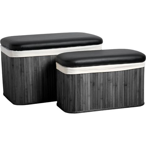 Storage seats, set of 2, black bamboo/canvas