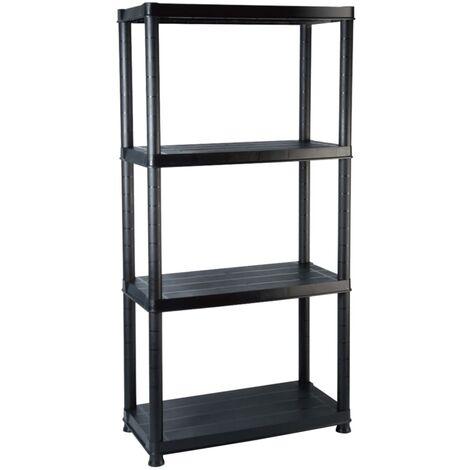 Storage Shelf 4-Tier Black 61x30.5x130 cm Plastic