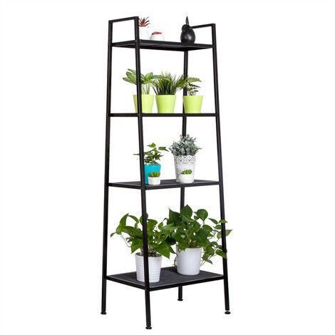 """main image of """"Storage Shelf 4 Tier for Book, Indoor Plant Flower Stand Shelf Unit, Metal Ladder Leaning Shelf for Living Room Bedroom (Black)"""""""