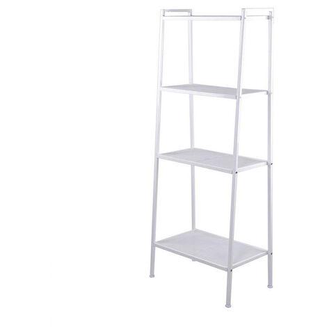 "main image of ""Storage Shelf 4 Tier for Book, Indoor Plant Flower Stand Shelf Unit, Metal Ladder Leaning Shelf for Living Room Bedroom (White)"""