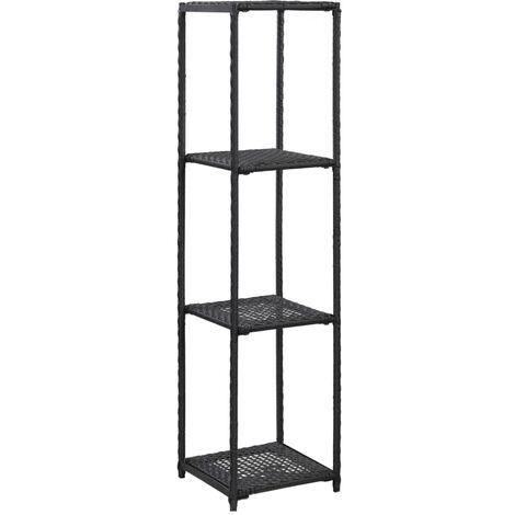 Storage Shelf Black 30x30x120 cm Poly Rattan