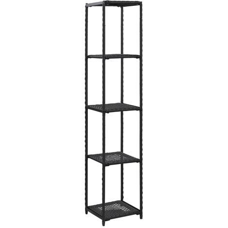 Storage Shelf Black 30x30x150 cm Poly Rattan