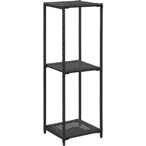Storage Shelf Black 30x30x90 cm Poly Rattan