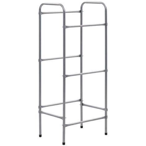 Storage Shelf for 3 Crates Silver 50x33x116 cm Steel