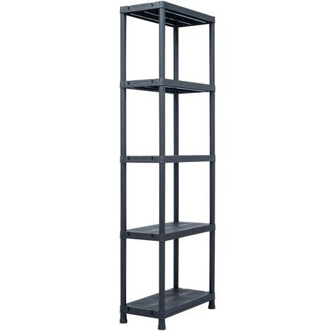 Storage Shelf Rack Black 125 kg 60x30x180 cm Plastic