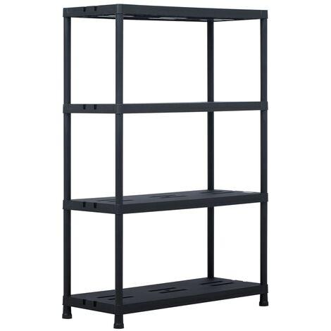 Storage Shelf Rack Black 220 kg 90x40x138 cm Plastic