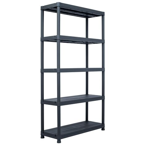Storage Shelf Rack Black 250 kg 80x40x180 cm Plastic