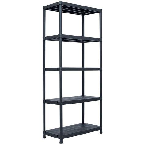 Storage Shelf Rack Black 500 kg 90x60x180 cm Plastic