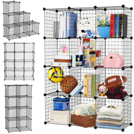 Storage Shelf Rack DIY Wire Grid Bookcase Display Cabinet Toy Shoe