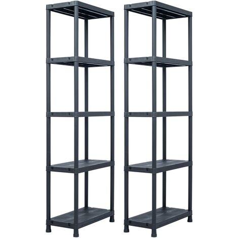 Storage Shelf Racks 2 pcs Black 125 kg 60x30x180 cm Plastic