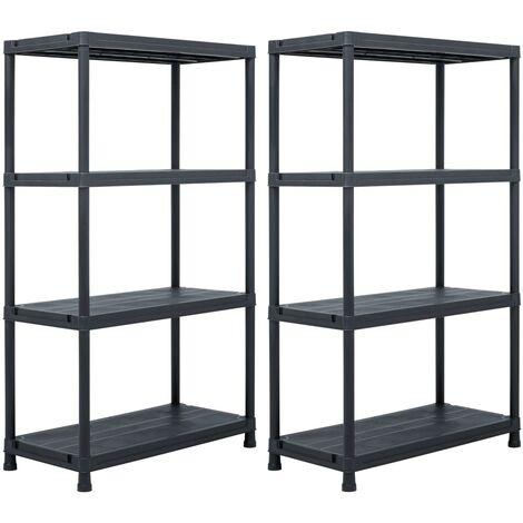 Storage Shelf Racks 2 pcs Black 200 kg 80x40x138 cm Plastic