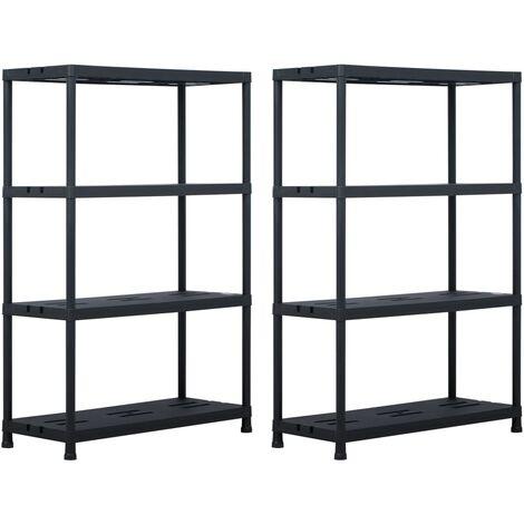 Storage Shelf Racks 2 pcs Black 220 kg 90x40x138 cm Plastic