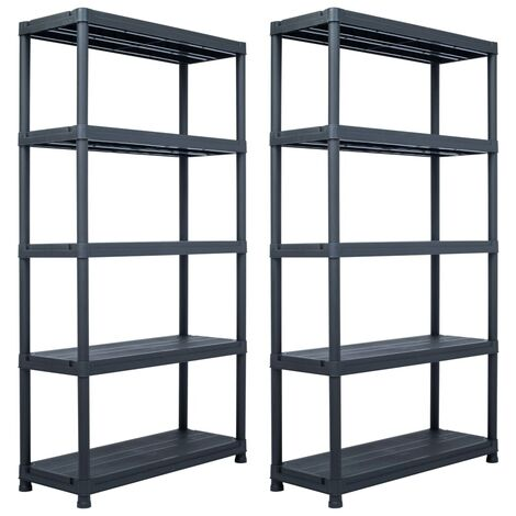 Storage Shelf Racks 2 pcs Black 250 kg 80x40x180 cm Plastic